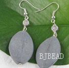 gray color stone needle and sunflower charm beads earrings under $ 40