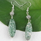green jasper earrings with tibet silver flower under $ 40