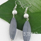 leaf shape gray stone needle earrings under $ 40