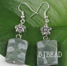 chunky style green jade earrings with flower charm