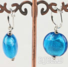 Flat Round Blue Colored Glaze Earings