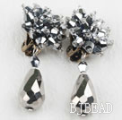 Big Style Silver Color Faceted Drop Crystal Clip Earrings