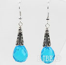 Classic Design Lake Blue Color Drop Shape Faceted Crystal Earrings