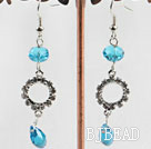 dangling blue manmade crystal earrings with rhinestone