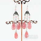 chandelier style drop shape cherry quartze earrings