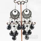chandelier style black agate white crystal earrings