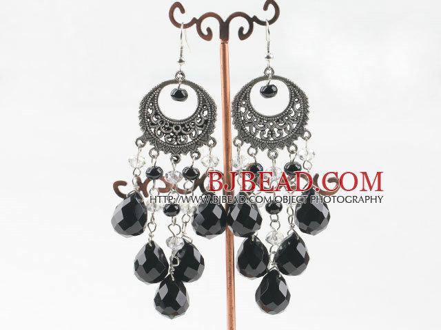 chandelier style black agate white crystal earrings