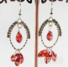 lovely red crystal earrings on gold tone loop with rhinestone