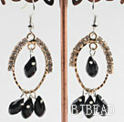 lovely black crystal earrings on gold tone loop with rhinestone
