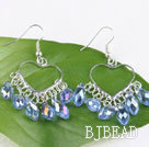 lovely mandmade light blue crystal earrings on heart metal loop under $2.5