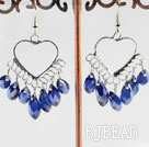 lovely mandmade deep blue crystal earrings on heart metal loop under $2.5
