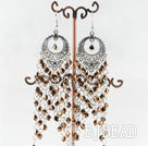 chandelier style gold brown manmade crystal earrings