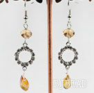 dangling yellow manmade crystal earrings with rhinestone