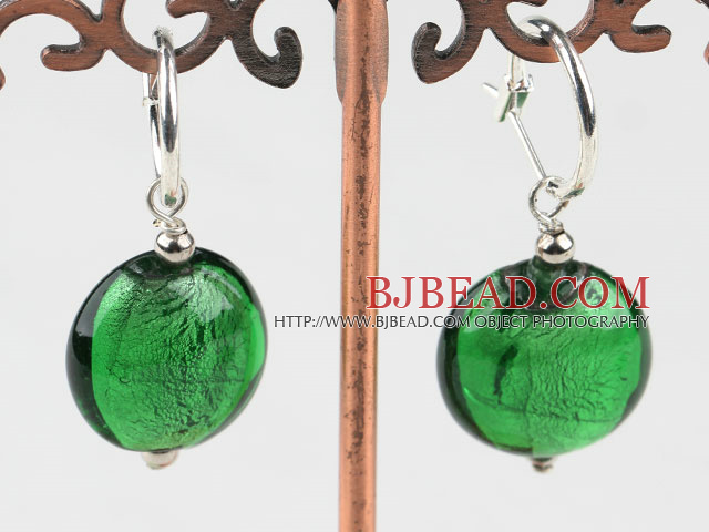 Cute style flat round green colored glaze earrings