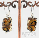 Cute style rectangle shape painted amber color colored glaze earrings