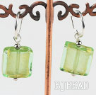Cute style square shape yellow green colored glaze earrings