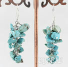 6-7mm cluster style turquoise chips earrings