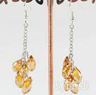 dangling style drop shape light yellow manmade crystal earrings