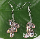 dangling style drop shape pink manmade crystal earrings