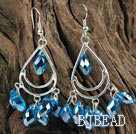 cute drop shape sky blue manmade crystal earrings