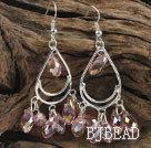 cute drop shape pink manmade crystal earrings