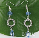 lovely blue manmade crystal earrings with rhinestone under $ 40