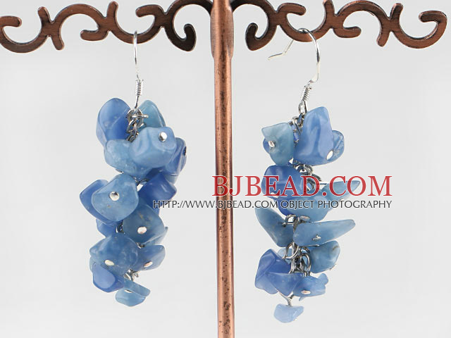 cluster style kyanite chips stone earrings