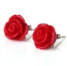 fashion jewelry 8*10mm red coral rose studs