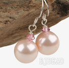 Austrian crystal seashell bead earrings