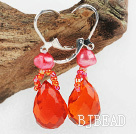 red pearl crystal drop earrings
