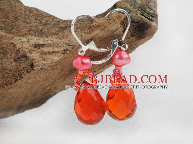 red pearl crystal drop earrings