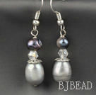 Gray Freshwater Pearl Crystal Earrings