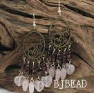 rose quartz and garnet vintage earrings