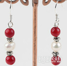 white pearl and red coral earrings