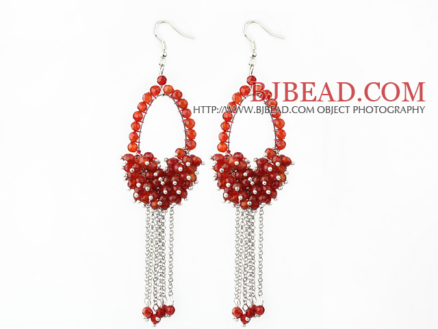 New Style Red Series Faceted Carnelian Tassel Fashion Earrings