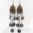 Vintage Style Eagle Eye Stone Long Earrings