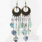 Vintage Style Rainbow Fluorite Stone Long Earrings