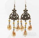 Vintage Style Amber Color Crystal Earrings
