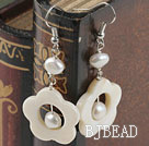 white fresh water pearl and shell earrings