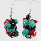 Assorted Turquoise and Red Coral and Black Crystal Cluster Earrings