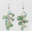 Freshwater Pearl and Aventurine Cluster Earrings under $ 40