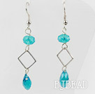 Simple Style Blue Turquoise Color Crystal Dangle Earrings under $ 40