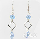 Simple Style Sky Blue Color Crystal Dangle Earrings