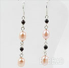 Dangle Style Pink Freshwater Pearl and Garnet Long Earrings under $ 40