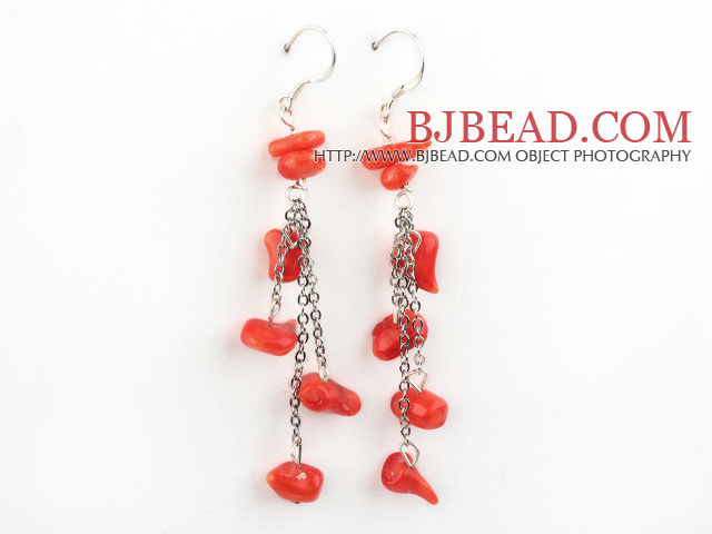 dangling style coral earrings