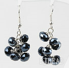 Cluster Style Black Crystal Earrings