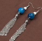 New Design Snowman Shape Dark Blue Seashell Christmas Earrings