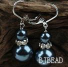 New Design Snowman Shape Dark Blue Black Seashell Christmas Earrings under $ 40