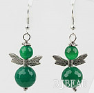 Lovely Style Faceted Green Agate Earrings