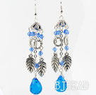 Long Style Blue Crystal Drop Earrings